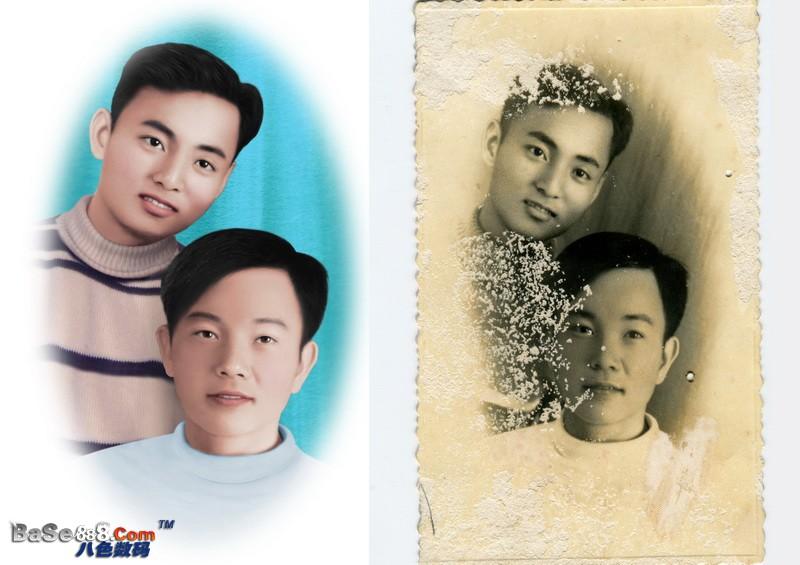 老照片翻新 -- 年輕 帥小伙的中級彩色修復