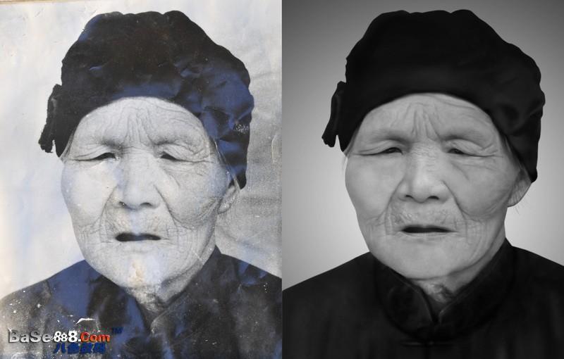 老照片修復 -- 慈愛老奶奶的中級詬誶修復