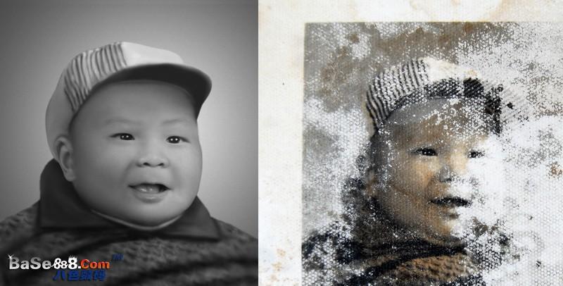 老照片翻新 -- 可愛小孩的照片修復
