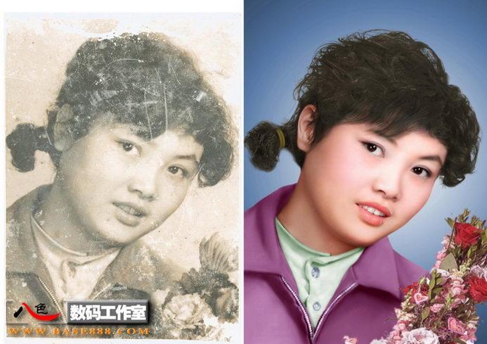 老相片翻新-卷發美女的老照片