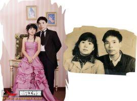 舊相片處理-老照片合成當代婚紗