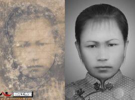 舊照片翻新-模糊變清晰-人為損壞的女人